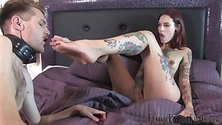 Tattooed Silvia Rubi is ready for hard sex with her friend on the bed
