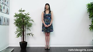 Black haired unprofessional Ruby rides cock in a actuality casting scene