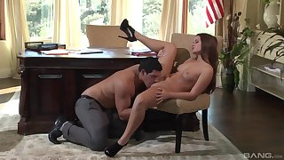 Abby Cross gets some dick in front office in a spicy play