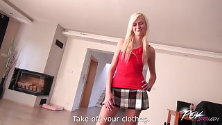 Marvelous Lenny Eleny lifts her miniskirt to be fucked without mercy