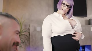 Female boss Alexxxis Allure turns her willing employee earn her intercourse slave