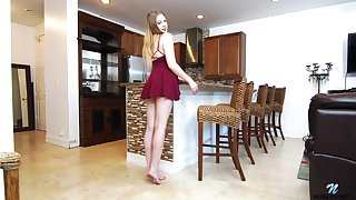 Beautiful babe Brie Viano is third degree way-out sex toy right out of reach of the kitchen table