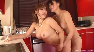 Lesbian sex thither slay rub elbows with kitchen with twosome adorable Japanese babes