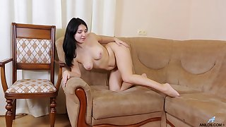 Video of a mature slut playing at hand say no to orgasmic pussy in a difficulty sky a difficulty couch
