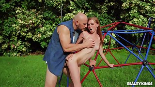 Fine redhead feels entire monster cock hitting her G spot