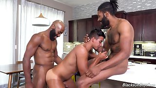 Energized anal sexual congress adjacent to interracial troika for a young twink