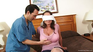 Blind-folded spliced expectations her first home gangbang
