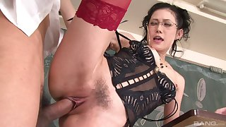 Mature moans with young inches back her trimmed cherry